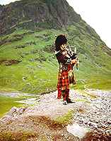 Scottish Piper in Highland Dress in Glencoe